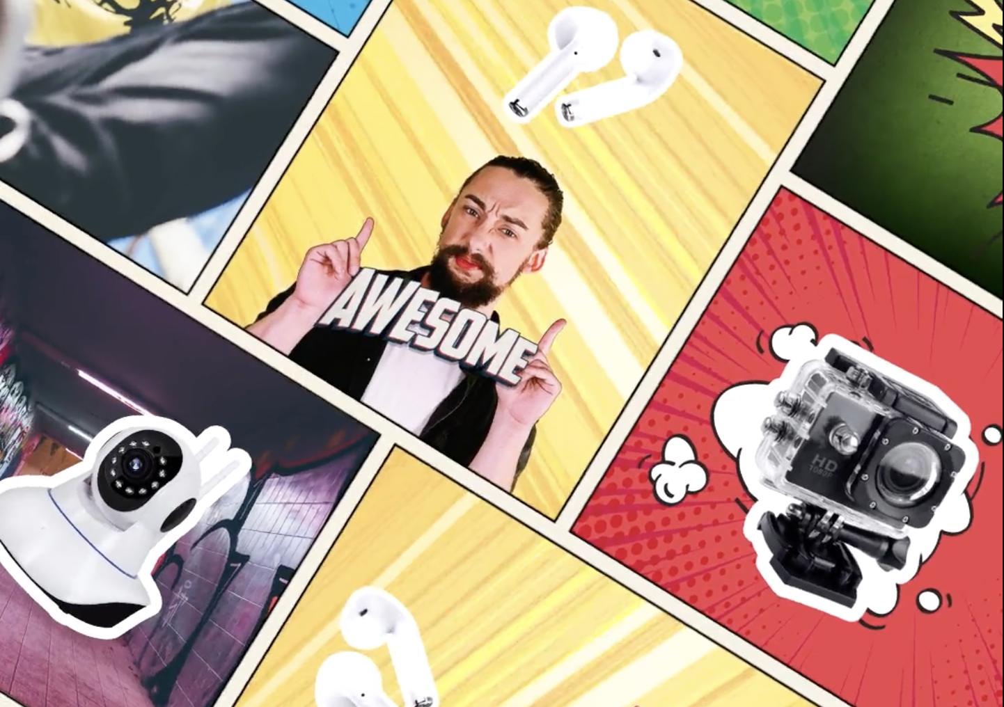 UA video creative comic style for Joom